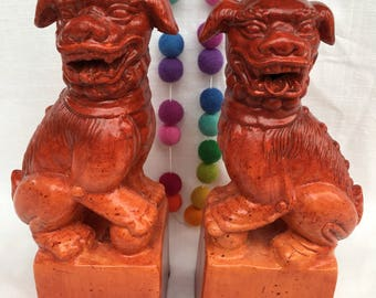 Pair tall Orange Foo Dogs