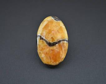 Simbircite-ammonite with pyrite natural stone cabochon   40 х 26 х 6,5  mm