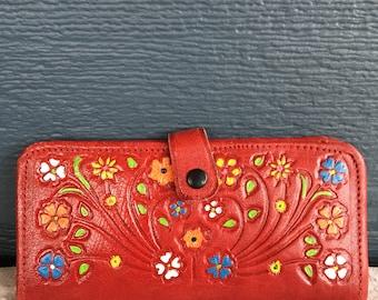 Vintage Red Leather Floral Wallet, Tooled Leather Flower Design Colourful Wallet