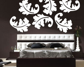 Wall decals FLORAL LEAFS Vinyl art stickers home decor by Decals Murals (6 of 20x27)