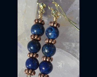 Lapis Lazuli with Copper Dangle Earrings