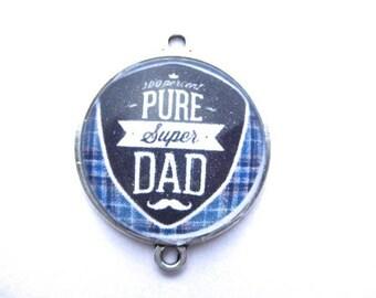 Pendant Dad, Dad, support metal money, 2.5 cm glass cabochon