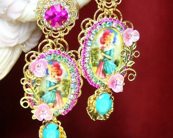 Victorian Juicy Colors Fuchsia  Stunning Cameo  Studs Earrings