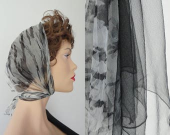 2 Pieces 50s 60s Sheer Vintage Scarf // Black/White And Black
