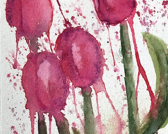 Loose Watercolor Tulips 5.5 x 8.5 Original Painting