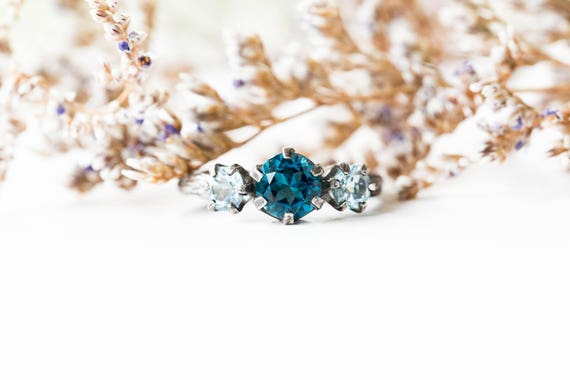 Topaz sterling silver twig engagement ring, blue topaz engagement ring, sterling silver twig engagement ring, london blue topaz engagement