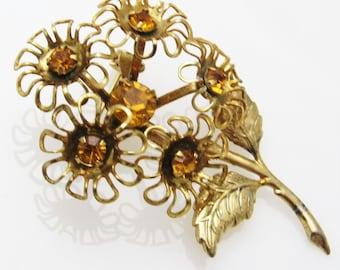 Vintage Rhinestone Flower Brooch Dimensional Jewelry