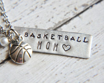 Basketball Mom Necklace - Basketball Jewelry- Basketball Necklace - Team Sports  - Best Friend Necklace - Basketball Gift - School Spirit