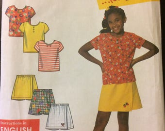 Girls' Shorts and Tops Sewing Pattern  Simplicity 7547 Uncut   Complete Size 3-12