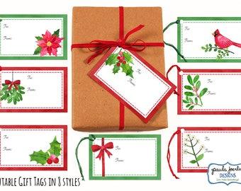 Printable Christmas Gift Tags, Holiday Gift Tags, Christmas Tags, Christmas Digital Download, Winter Greenery, Vintage Christmas Gift Cards
