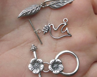 Sterling Silver Flower,Leaf or Dove Clasp(1 clasp)You choose which one