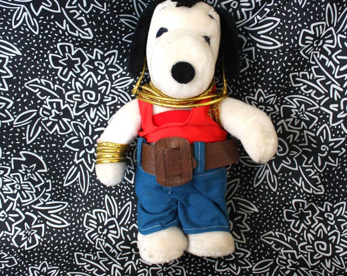 Featured listing image: Mr. T Snoopy Stuffed Animal. Vintage 80s Rare Peanuts Snoopy Dressed As Mr. T Plus Toy. 80s Kid Nostalgia Gift. Mr. T Stuffed Animal Toy