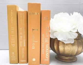 Yellow Decorative Book Set, Yellow Books, Shelf Decor, Yellow Decor