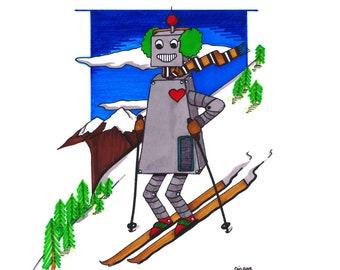 "robot skier : GICLEE PRINT  11""X14"""