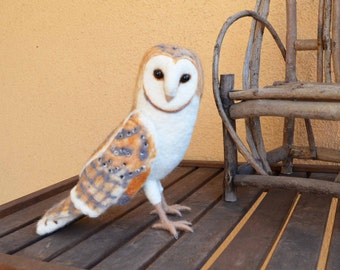 Mr. Barn Owl, lifesize needle felted art wool sculpture