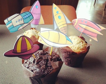 Retro Rocket Mobile or Cupcake toppers. Silhouette Cameo Cutouts Colorbook4nerdlings by Sean McMenemy