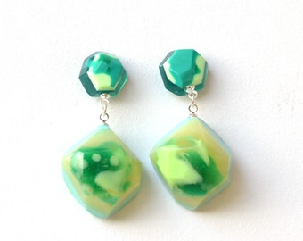 Resin Nugget Glam Drop Earrings - Handmade, One of a Kind-Assorted Colours-Surgical Steel