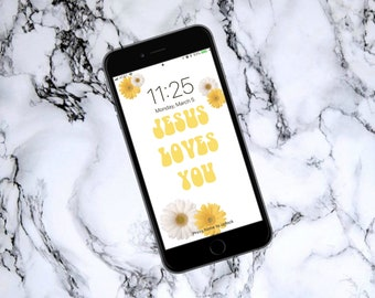 Jesus Loves You Phone Wallpaper, Instant Download Phone Wallpaper, Digital File Phone Wallpaper, Floral Phone Wallpaper