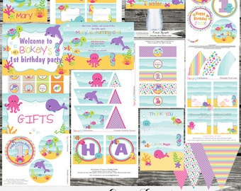 DIY Printable Party Package -Ocean Friends -Baby Shower -Banner -Favor Tags -Tent Cards -Cupcake Toppers -Under the Sea -1st Birthday- Sea