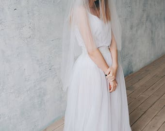 LOVELY | Double tier ivory veil, veil with blusher, bridal veil, wedding veil, white veil, ivory veil, veil wedding