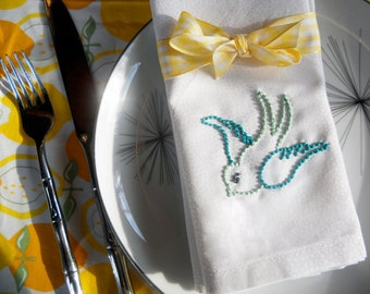Hand Embroidered Eco Friendly Cloth Napkin - Sailor Jerry Rockabilly Tattoo - Set of 2 - Hipster Flying Swallow Sparrow Bird