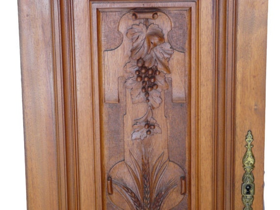 French Antique Hand Carved Walnut Wood Panel Door Architectural