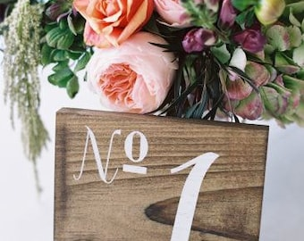 Wedding Table Numbers, Wooden Table Numbers Wedding - Set of 12 - TB-20