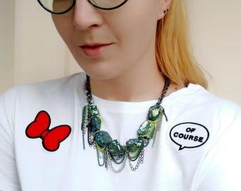 Chunky Quartz Necklace, Blue Quartz Statement Necklace, Chain Rock Crystal Necklace, Raw Quartz Necklace
