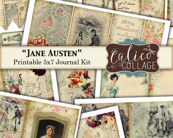 Jane Austen, Printable, Journal Kit, Printable Paper, 5x7 Journal Kit, Printable Ephemera, Instant Download, Pride and Prejudice