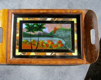 Exotic wood top real butterfly in Brazil Rio de Janeiro glass