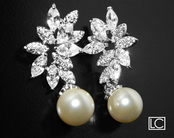 Pearl Cubic Zirconia Bridal Earrings, Swarovski 10mm Ivory Pearl Earrings, Wedding Pearl CZ Earrings, Pearl Bridal Jewelry, Prom Earrings