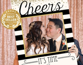 New Years Eve Cheers Photo Prop - Photo Booth Props - New Years Eve Photo Booth Frame - Pop Champagne - Printed Option Available
