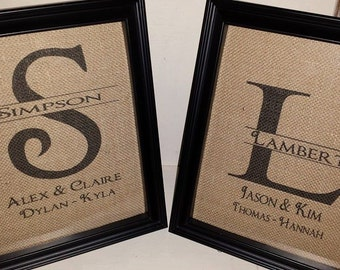Farmhouse, Burlap Prints, Burlap Wedding Sign, Burlap, Printed Burlap,Personalized Burlap, Burlap Picture, Wedding Monogram