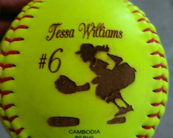 Custom Laser engraved softballs.. One of a kind gift