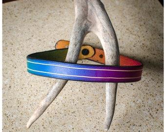 Rainbow bevel leather choker / double wrap bracelet