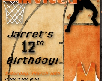 Basketball Birthday Party Invitation - Orange