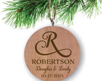 Swirl Initial Couple's Ornament - Personalized Ornament - Engraved Wooden Gift Tag - Engraved Wooden Christmas Ornament - Wood Ornament