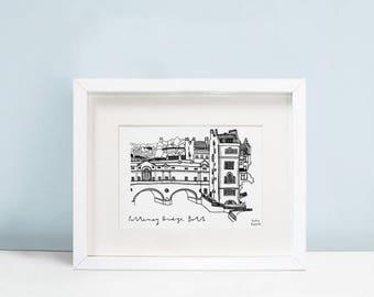 Pulteney Bridge, Bath A5 A4 illustrated art print