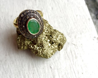 VIntage antique gold plated raw emerald ring with diamonds