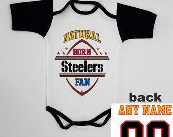 Steelers Baby Onesie NFL Custom Baby Bodysuit Infant Football Personalized Onesie