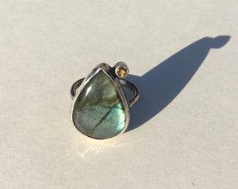 Starry Night Ring- labradorite ring, citrine ring, two stone ring, labradorite cabochon, handmade jewelry, sterling silver ring, organic