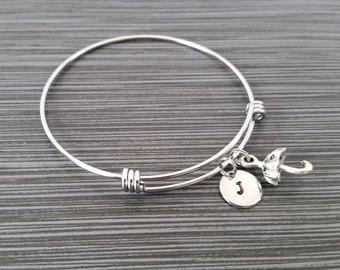 Umbrella Bangle Bracelet - Dainty Charm Bracelet - Expandable Bangle - Charm Bangle - Personalized Initial Bracelet - Personalized Gift