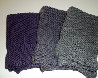 Dishcloths Knit in Cotton in Eggplant and Smoke and Eggplant/Smoke, Dish Cloth, Wash Cloth, Kitchen