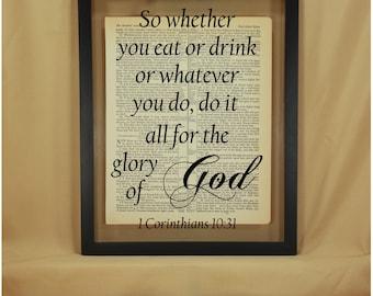 Scripture Art, Scripture Wall Art, Scripture Signs, Bible Verse Wall Art, 1 Corinthians, 1 Corinthians 10 31, Bible Verse Sign, Scripture