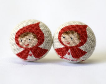 Little Red Riding Hood Silver Post Earrings (Set of 2) ~ Button Earrings ~ Fabric Button ~ Covered Button - 18mm (0.71 inch)