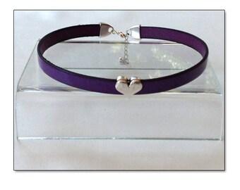 Sweetheart Purple Leather Collar Choker BDSM Collar Submissive BDSM Daytime Slave Collar BDSM Jewelry