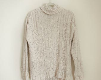 Vintage Turtleneck Oversized Cable knit Cream Sweater