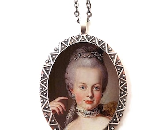 Marie Antoinette Necklace Pendant Silver Tone - French Revolution Royalty Queen