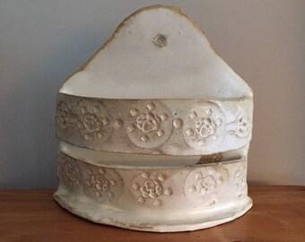 Handmade White Ceramic Vase Wall Pocket Mail Holder