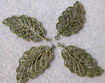 Antique Bronze Brass Plated Filigree Leaves Leaf 33mm x 17mm 506
